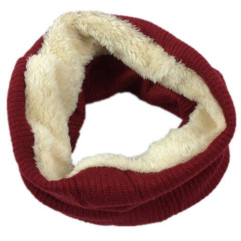 Striped Pattern Thicken Velvet Knitted Infinity Loop Scarf - WINE RED