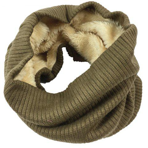 Striped Pattern Thicken Velvet Knitted Infinity Loop Scarf - COFFEE
