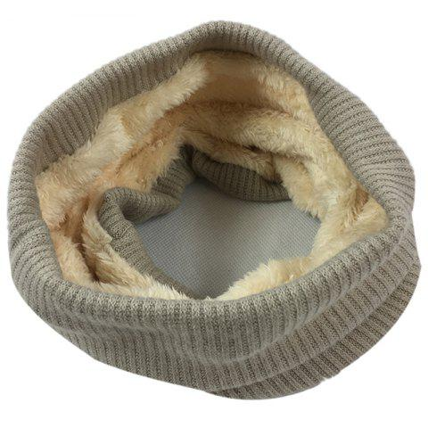 Striped Pattern Thicken Velvet Knitted Infinity Loop Scarf - KHAKI