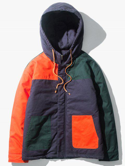 Color Block Panel Padded Zip Up Jacket - JACINTH 2XL