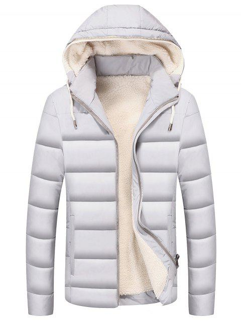 Drawstring Hood Zip Up Puffer Jacket - WHITE XL
