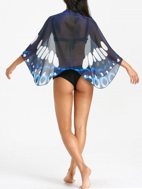 Butterfly Printed Sheer Beach Cover Up - COLORMIX ONE SIZE