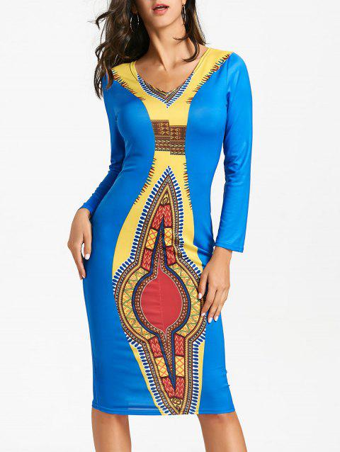 Tribal Print V Neck Bodycon Dress - BLUE L