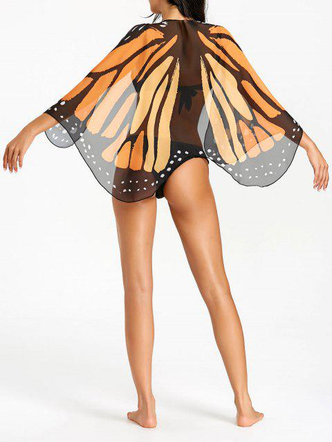 Mousseline de soie Butterfly Wing Beach Cover Up - multicolore ONE SIZE
