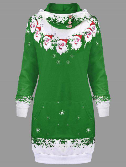 Christmas Hooded Santa Claus Print Dress - GREEN M