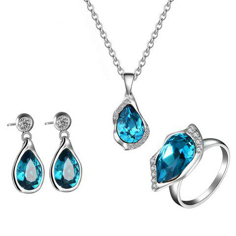 Faux Crystal Decorated Water Drop Shape Jewelry Set - BLUE