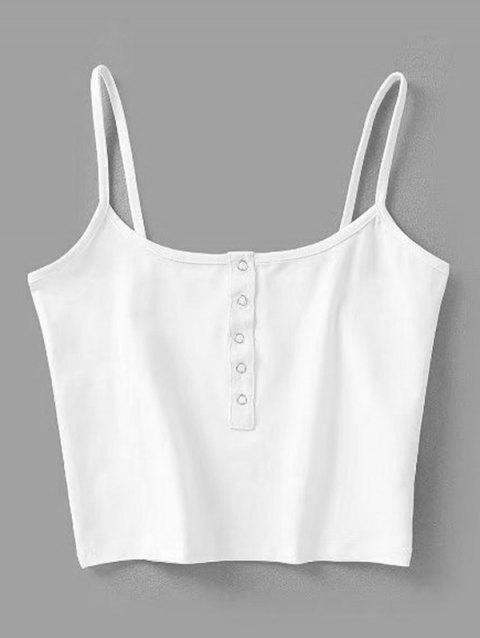 Snap Button Cropped Tank Top - WHITE S
