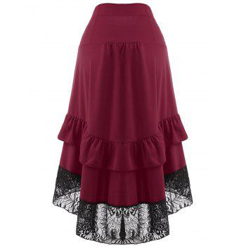 Lace Insert High Waisted Midi Party Skirt - WINE RED XL