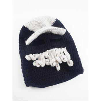 Funny Beard Decoration Crochet Knitted Slouchy Beanie -  BLACK WHITE