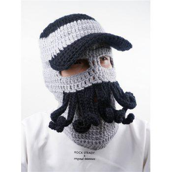 Funny Beard Decoration Crochet Knitted Slouchy Beanie - BLACK GREY BLACK GREY