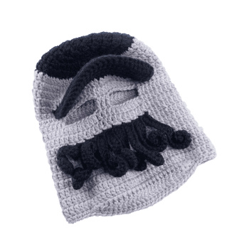 Funny Beard Decoration Crochet Knitted Slouchy Beanie -  BLACK GREY