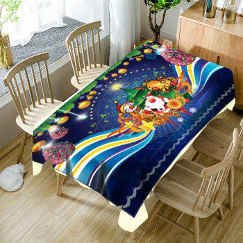 Christmas Theme Printed Fabric Waterproof Table Cloth - BLUE BLUE