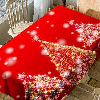 Neon Christmas Trees Pattern Waterproof Fabric Table Cloth - RED RED