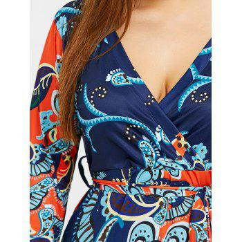 Plus Size Ethnic Floral Print Surplice Dress - ORANGE 5XL
