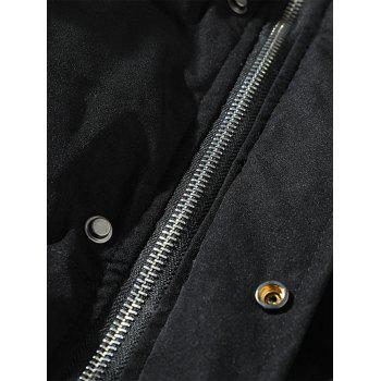 Braid Embellished Cotton Padded Zip Up Coat - BLACK 4XL