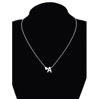 Heart Letter A Collarbone Pendant Necklace - SILVER SILVER