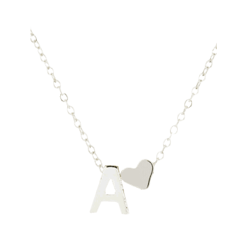 Heart Letter A Collarbone Pendant Necklace - SILVER
