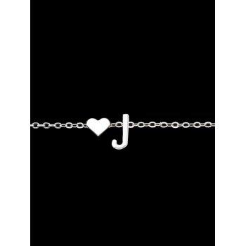Letter J Heart Collarbone Pendant Necklace -  SILVER
