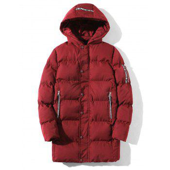Braid Embellished Cotton Padded Zip Up Coat - RED RED