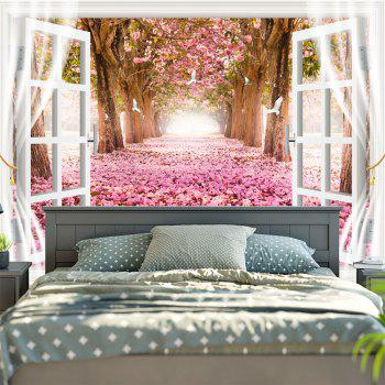 Window Scenery Trees Fallen Petal Pattern Wall Tapestry - COLORMIX COLORMIX