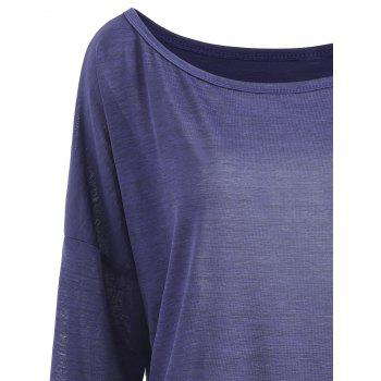 Drop Shoulder Scoop Neck Plus Size T-shirt - PURPLISH BLUE 3XL