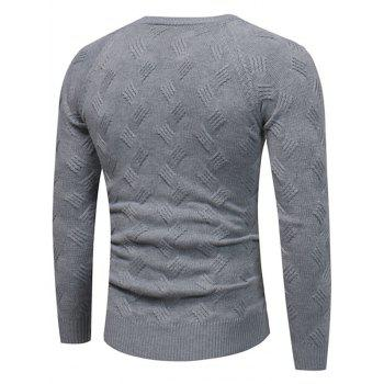 Crew Neck Raglan Sleeve Pullover Sweater - GRAY L
