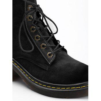 Chunky Heel Stitching Lace Up Boots - BLACK 39