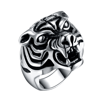 Tiger Carved Decorated Gothic Style Titanium Steel Ring - BLACK BLACK