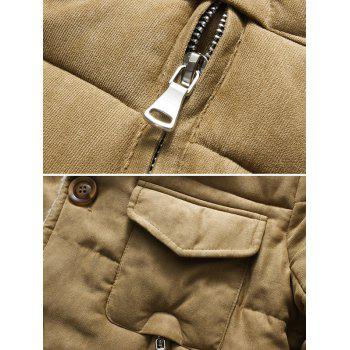 Button Up Chest Pocket Lapel Wadded Jacket - KHAKI 2XL