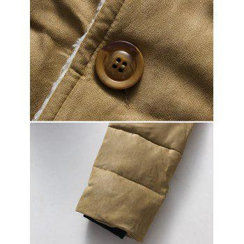 Button Up Chest Pocket Lapel Wadded Jacket - KHAKI KHAKI