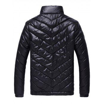 Packable Funnel Neck Down Puffer Jacket - BLACK 3XL