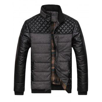 Argyle Color Block Artificial Leather Jacket - GRAY GRAY