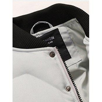 Stand Collar Zip Up Padded Jacket - GRAY 3XL