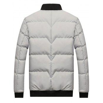 Stand Collar Zip Up Padded Jacket - GRAY GRAY
