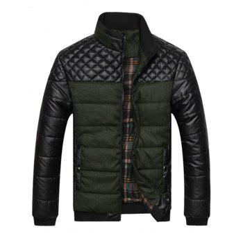 Argyle Color Block Artificial Leather Jacket - ARMY GREEN ARMY GREEN