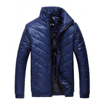 Packable Funnel Neck Down Puffer Jacket - BLUE BLUE