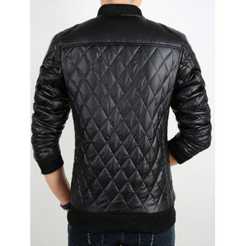 Stand Collar Argyle Artificial Leather Jacket - BLACK M