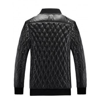 Stand Collar Argyle Artificial Leather Jacket - BLACK BLACK