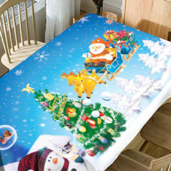 Christmas Theme Pattern Waterproof Fabric Table Cloth - SKY BLUE W60 INCH * L84 INCH