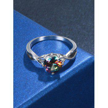Faux Gem Infinite Finger Ring - SILVER 7