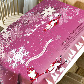 Flying Santa Claus Floral Print Waterproof Christmas Table Cloth - PINK W60 INCH * L84 INCH