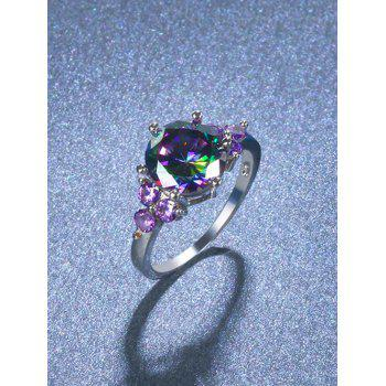 Faux Amethyst Gem Round Finger Ring - SILVER 7