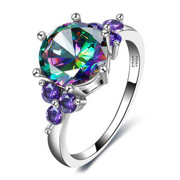 Faux Amethyst Gem Round Finger Ring - SILVER SILVER
