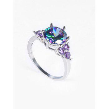 Faux Amethyst Gem Round Finger Ring - SILVER 9