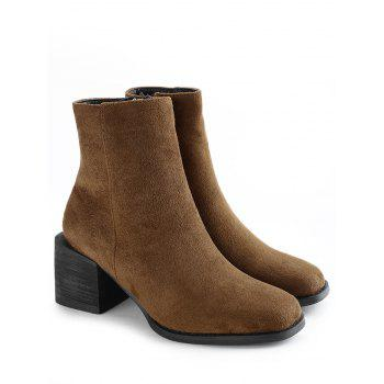 Stacked Heel Side Zip Ankle Boots - CAMEL 39