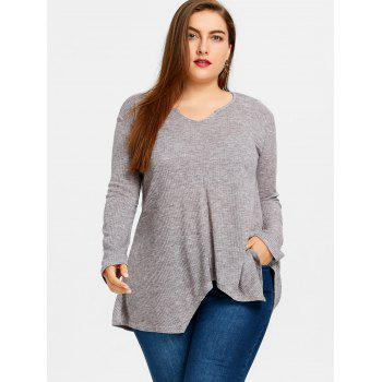 Plus Size  Ribbed Knit  Asymmetric Sweater - GRAY GRAY