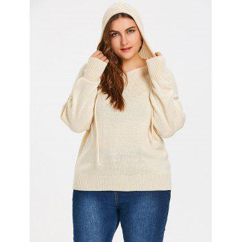 Hooded High Low Plus Size Sweater - BEIGE ONE SIZE
