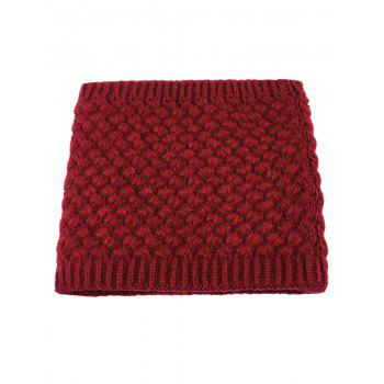 Outdoor Corn Shape Pattern Crochet Knitted Infinity Loop Scarf - WINE RED WINE RED