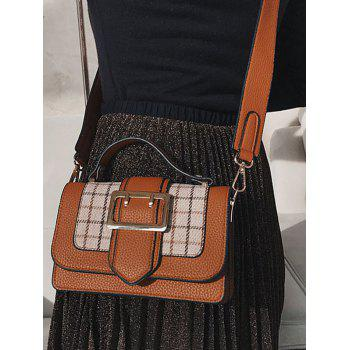 Buckle Strap Plaid Crossbody Bag With Handle - BROWN