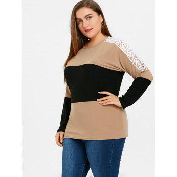 Plus Size Color Block Lace Embellished Sweatshirt - APRICOT 2XL